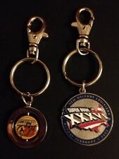 Set Of 2 NFL NEW ENGLAND PATRIOTS RAMS SUPER BOWL XXXVI KEYRING KEYCHAIN NEW