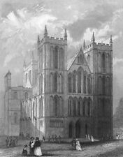 YORKS. Ripon Cathedral NW view 1836 old antique vintage print picture