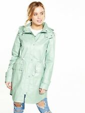 V by Very Petite Lightweight Waxed Parker Pale Green Size UK 14 SA171 AE 02