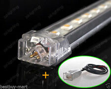 7W SMD 5050 LED Rigid Strip light Tube Bar Lamp Bright White DC12V Wire+/Clips