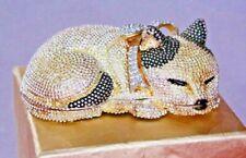 Rucinni Gold Yellow Black White Tabby Cat Kitty Swarovski  Vintage Trinket Pill