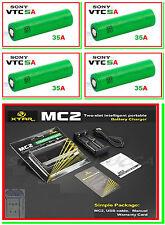 4 BATTERIE SONY 18650 VTC5A 2600mAh 35A + CARICABATTERIE XTAR MC2 box mod vape