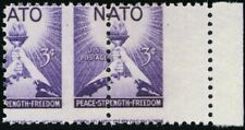 1008, Mint NH 3¢ NATO Spectacular Misperforation Error Pair - Stuart Katz