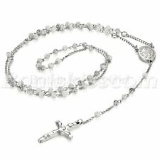 Stainless Steel Christ Jesus Crucifix Cross Pendant Rosary Pendant Necklace Link