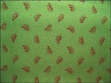 2 Yards of Green with Burgandy Leaves Cotton Fabric