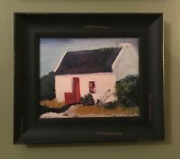 """Ireland Thatched Roof Cottage 8x10"""" Oil Painting Canvas Framed Irish Wood Frame"""