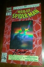 Web of spiderman 90 1st print holofoil card signed alex saviuk amazing hobgoblin