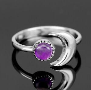925 Sterling Silver Purple Amethyst Ring Ladies Sun Moon Jewellery Gift Jewelry
