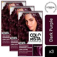 3 Pack L'Oreal Paris Colorista Hair Colour Dark Purple Permanent Gel Hair Dye