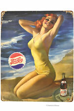"Retro 15"" Vintage Distressed Pinup Ocean & Sand Pepsi Metal Wall Sign Plaque"