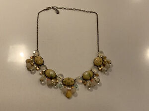 Signed Ayala Bar / AB Necklace With Fabric Crystal & Quartz Beads Made In Israel