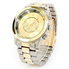 New Geneva Large 2Tone Boyfriend Style Women's Bracelet Watch