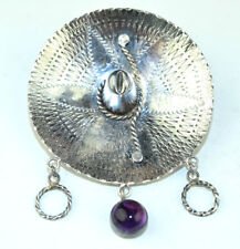 W/ Cabochon Amethyst & Circle Dangles Vintage 900 Silver Large 3-D Sombrero Pin