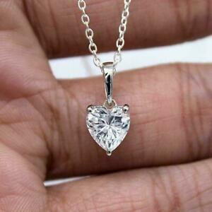 """2 Ct Heart Shaped Diamond Solitaire Pendant Necklace W/ 18"""" 14K White Gold Over"""