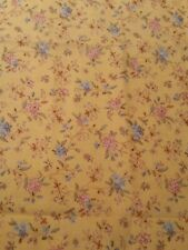 vintage 1/4 yard blue pink pastel floral on yellow Fabric cotton quilting