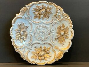 Antique Meissen Leuteritz Rococo Relief Gold Fruits Decoration Cabinet Plate