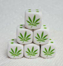 Dice-(6) Koplow's 16mm Marijuana Leaf - OP White w/Green Leaf as #1 & Green Pips
