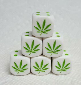 Dice-(6) Koplow's 16mm Marijuana Leaf - OP White w/Green Leaf as #1 & Green Pips