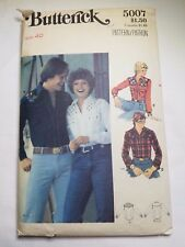 BUTTERICK 5007,  VTG MEN'S SHIRT W/ EMBROIDERY TRANSFER. SIZE 40 PREOWNED UNCUT