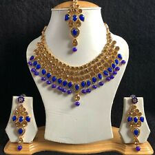 BLUE BEIGE GOLD INDIAN KUNDAN JEWELLERY NECKLACE EARRINGS CRYSTAL SET NEW 199