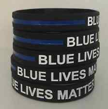 10 Thin Blue Line Silicone Wristband Police Bracelet BLUE LIVES MATTER Support