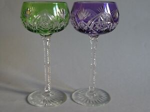 TWO VINTAGE ROEMER WINE GLASSES CRYSTAL STYLE QUALITY VAL SAINT LAMBERT DESIGN