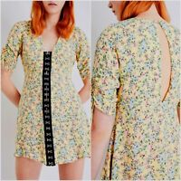 NEW TOPSHOP Ladies Yellow Floral Pink Rose Hook Eye Summer Tea Dress Size 6 - 14