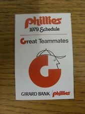 1979 scheda di impianti: Baseball-Philadelphia Phillies (Girard Bank-pieghevole Styl