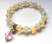rose quartz gemstone healing bracelet with opalite and pink glass heart charm