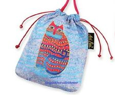 Laurel Burch Drawstring CrossBody Makup Bag Wave Cat Gift Jewelry Pouch New