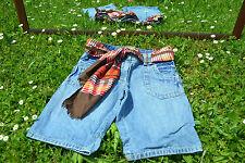 BENETTON Vtg Retro Blue Denim Jeans Crop Pants Shorts FREE scarf belt sz S/M Q48