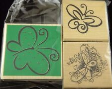 Mounted Rubber Stamps 3 Pcs Butterfly Butterflies Sketched Drawn Mon Papillon