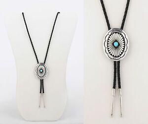 STERLING SILVER TURQUOISE OVAL PENDANT BOLO TIE BRAIDED LEATHER LARIAT NECKLACE
