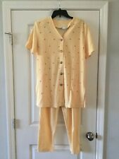 Epix Yellow Embellished Top Women Short Sleeves Pants Suit Stretch Size L