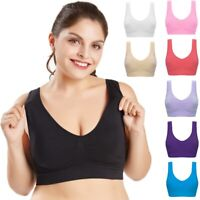 Women Seamless Sports Bra Wireless Yoga Crop Top Vest Comfort Stretch Plus Size