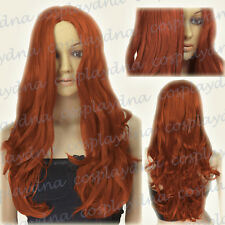 """24"""" Heat Resistant Copper Red Long Midpart Curly Wavy Cosplay Wigs 38350"""