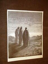 Incisione Gustave Dorè 1880 Bibbia Gesù strada di Emmaus Bible Engraving