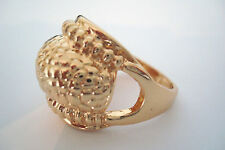 Gold Tone Reptile Snakeskin Scales Style Statement Ring Size S