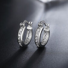 White Gold Filled crystal Earring jewelry wedding Solid stone cute women lady