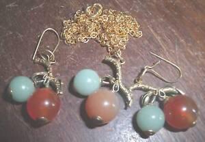 sterling enamel jade carnelian earring pendant set