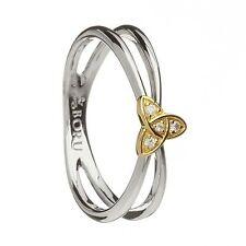 IRISH STERLING SILVER  & 10K Trinity Knot Ring with CZs Made in Ireland BORU