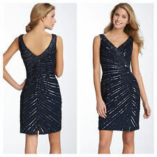 $178 Sean Collection Beaded Mesh Sleeveless Sheath Dress  Navy Blue Sz: 4
