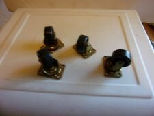 """FOUR WHEELS SWIVEL CASTER A SET 4 HOLES TO SCREW INTO VINTAGE TIRES PLASTIC 1.5"""""""