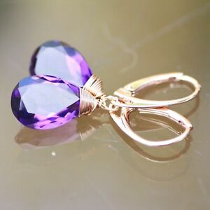 Lab Made Amethyst Earrings 14k Rose Gold Filled Wire Wrapped February Birthstone