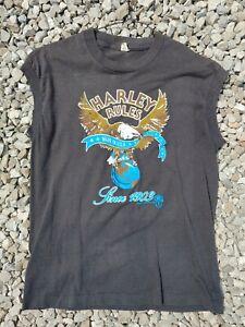 Vintage Harley Davidson Rules 1987 Holousek Large Sleeveless T-shirt Tee Worn