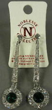 New NOC Noblesse Green & Clear Crystal & Silvertone Dangle Pierced Earrings NWT