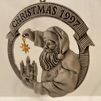 1997 AVON Pewter Santa w/ Star & Castle CollectIble Christmas Ornament In Box