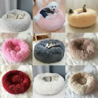 Round Pet Dog Cat Calming Bed Nest Soft Warm Plush Sleeping Cushion Kennel Mat