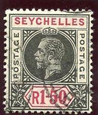 """Seychelles 1912 KGV 1r 50c black & carmine SPLIT """"A"""" variety VFU. SG 80a."""