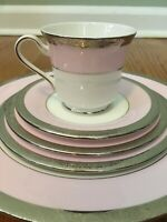 Mary Kay 40th Anniversary Pink & Gold 5 Piece Dinnerware - 3 Sets EUC